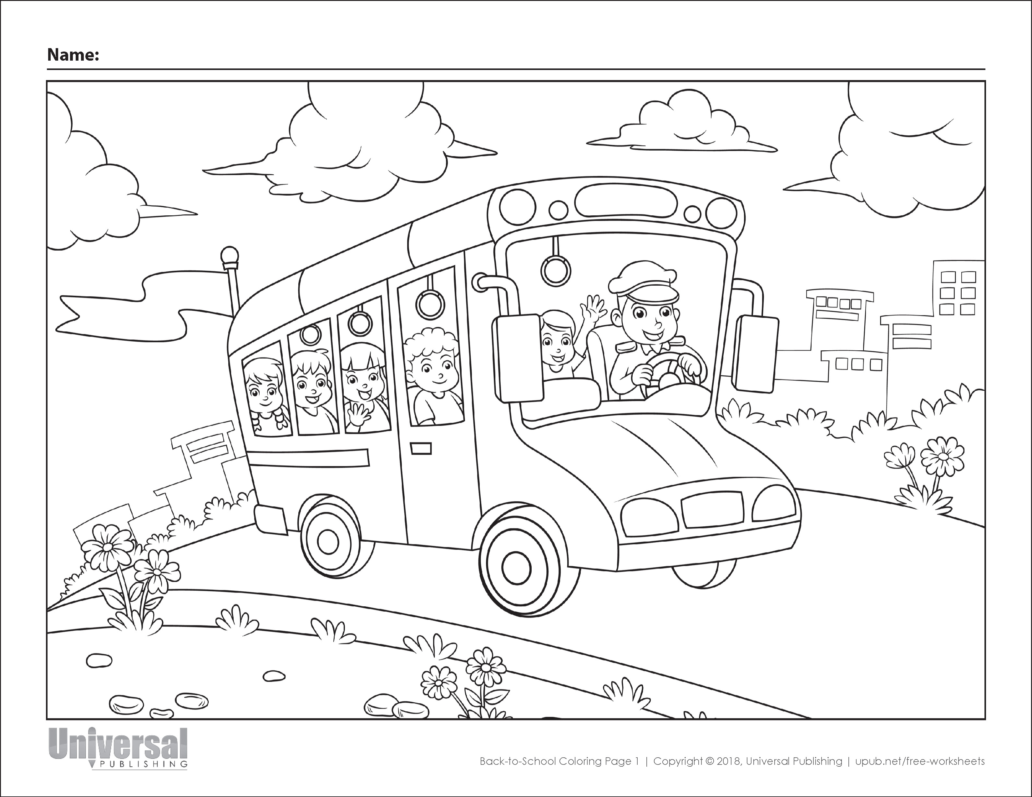 Back to School Coloring Page 1