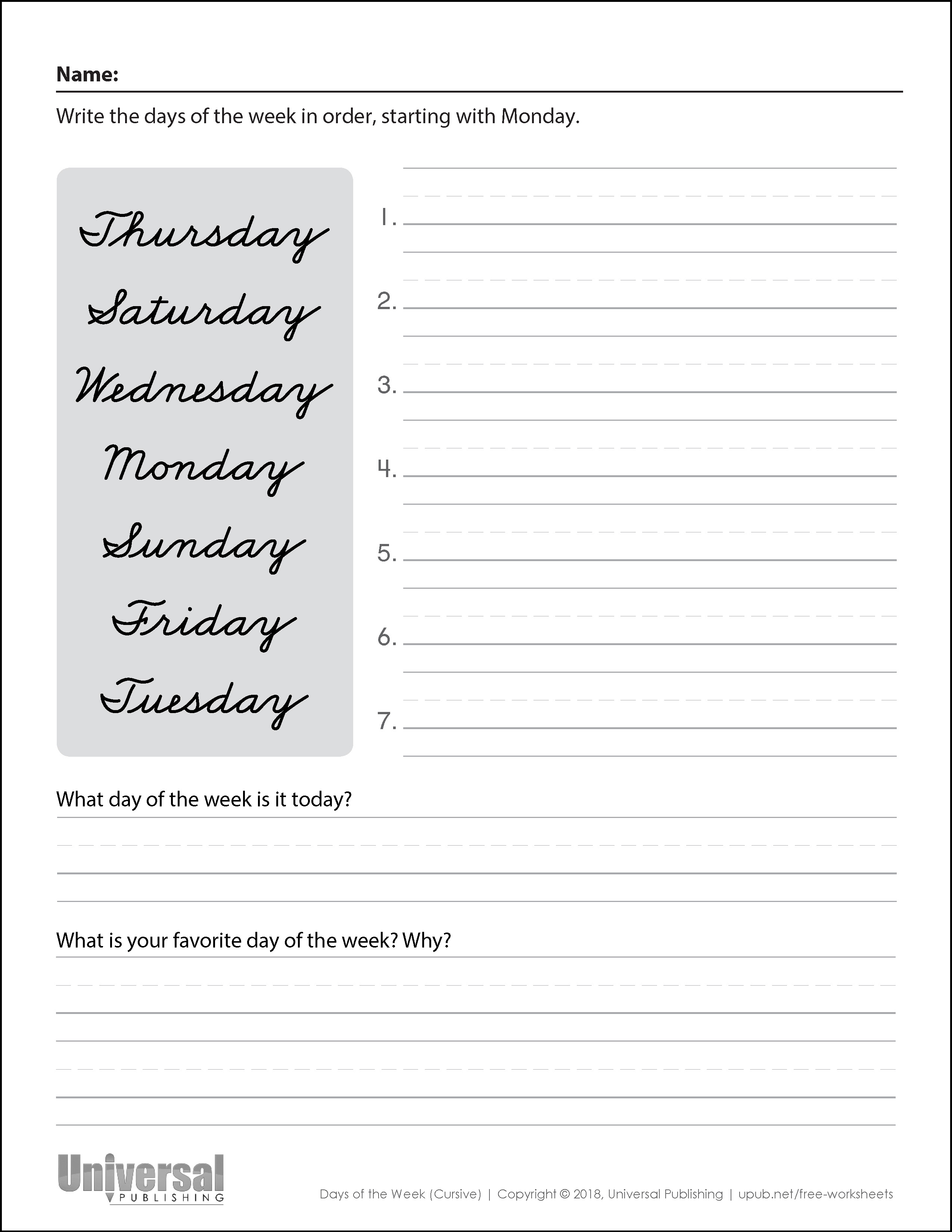 Days of the Week Cursive