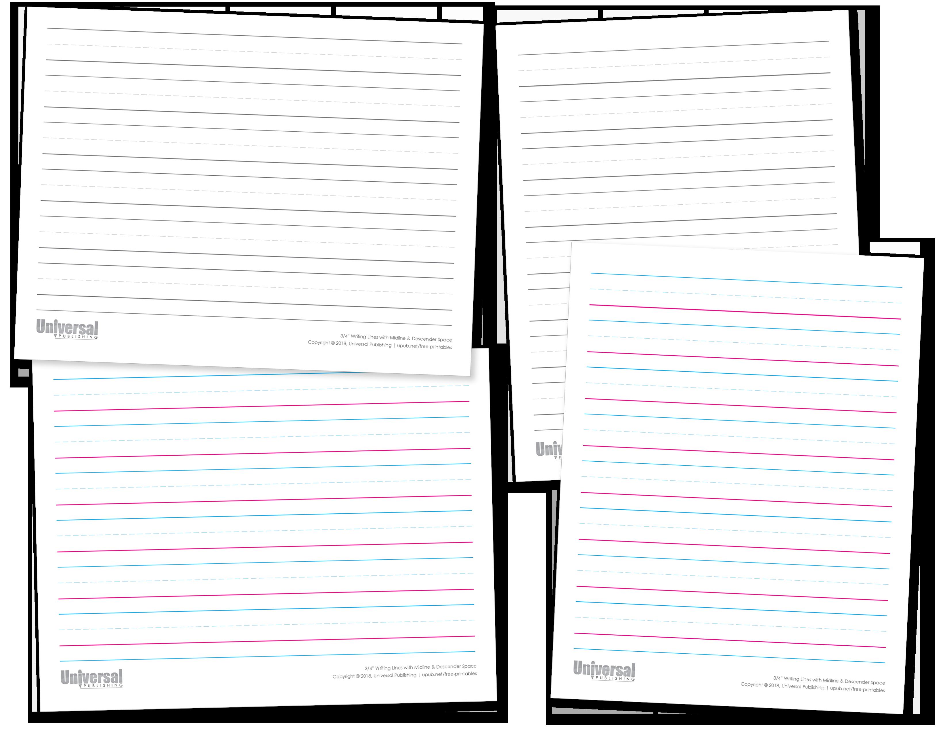 Three Quarter Inch Writing Lines