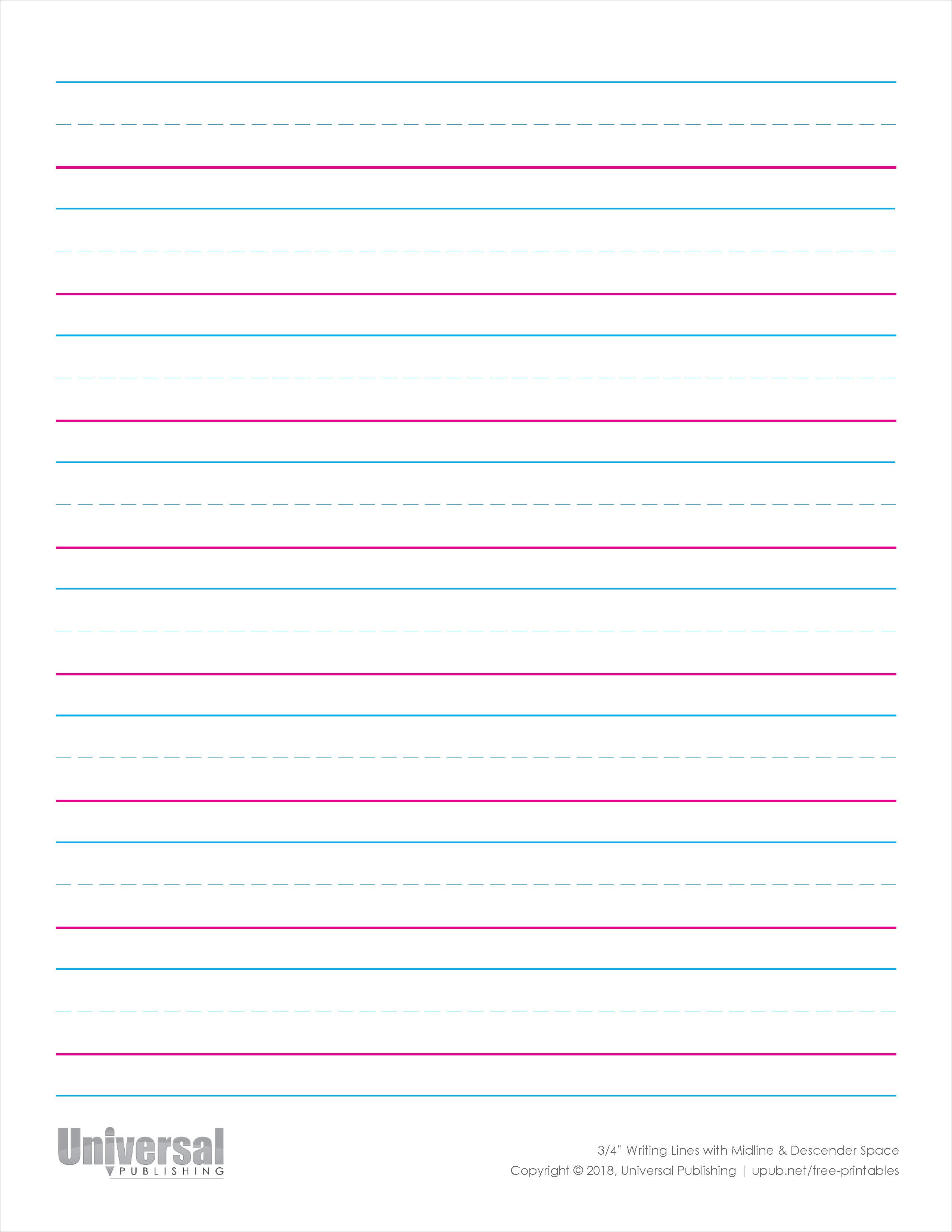 Writing Lines Free Printables Universal Publishing