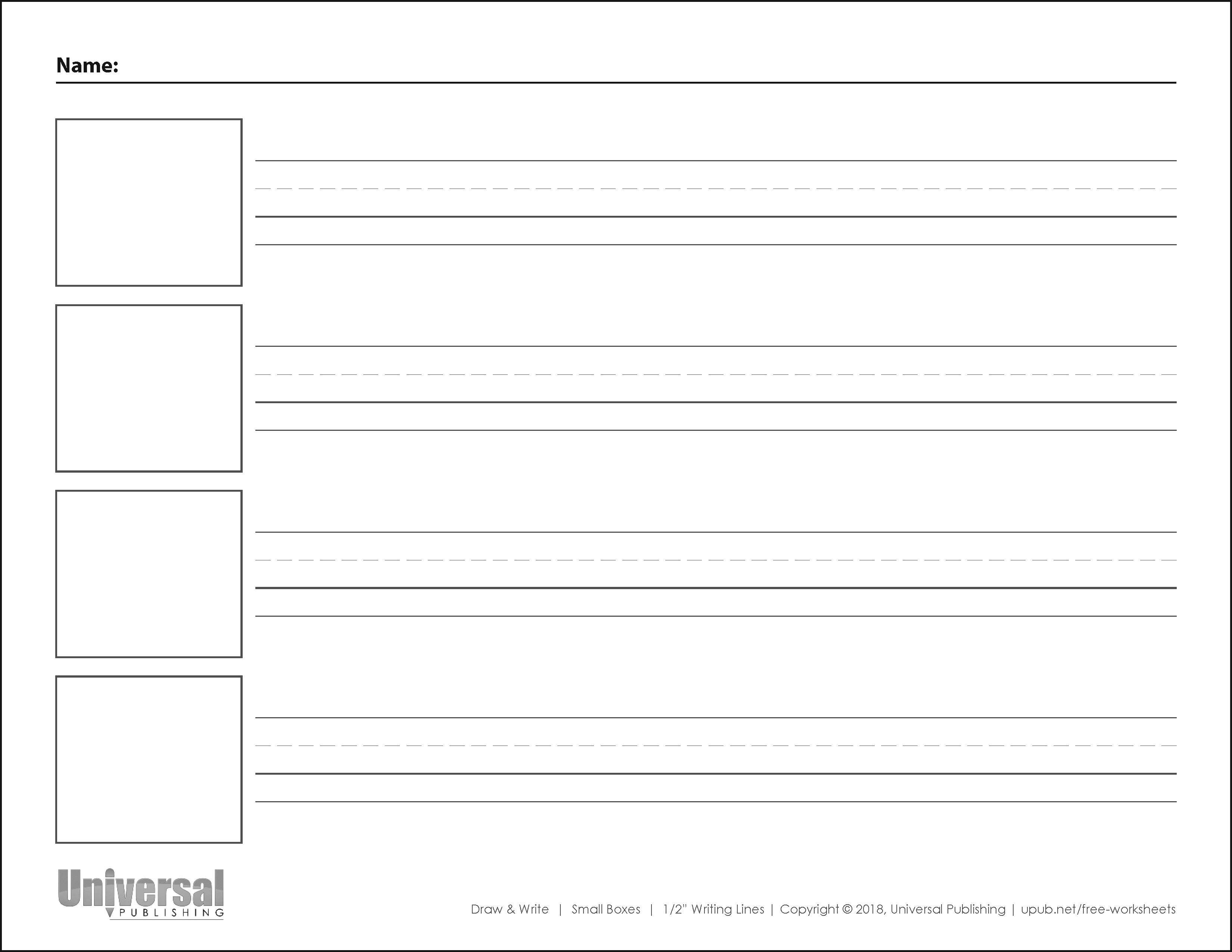 Draw and Write Horizontal Half Inch Writing Lines Four Boxes