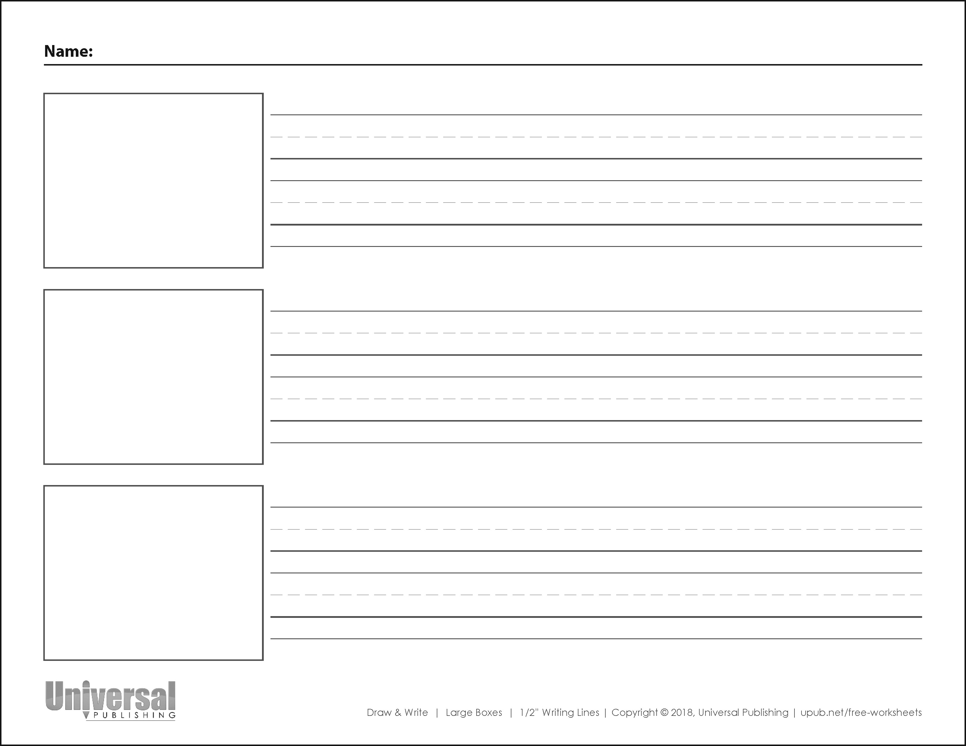 Draw and Write Horizontal Half Inch Writing Lines Three Boxes
