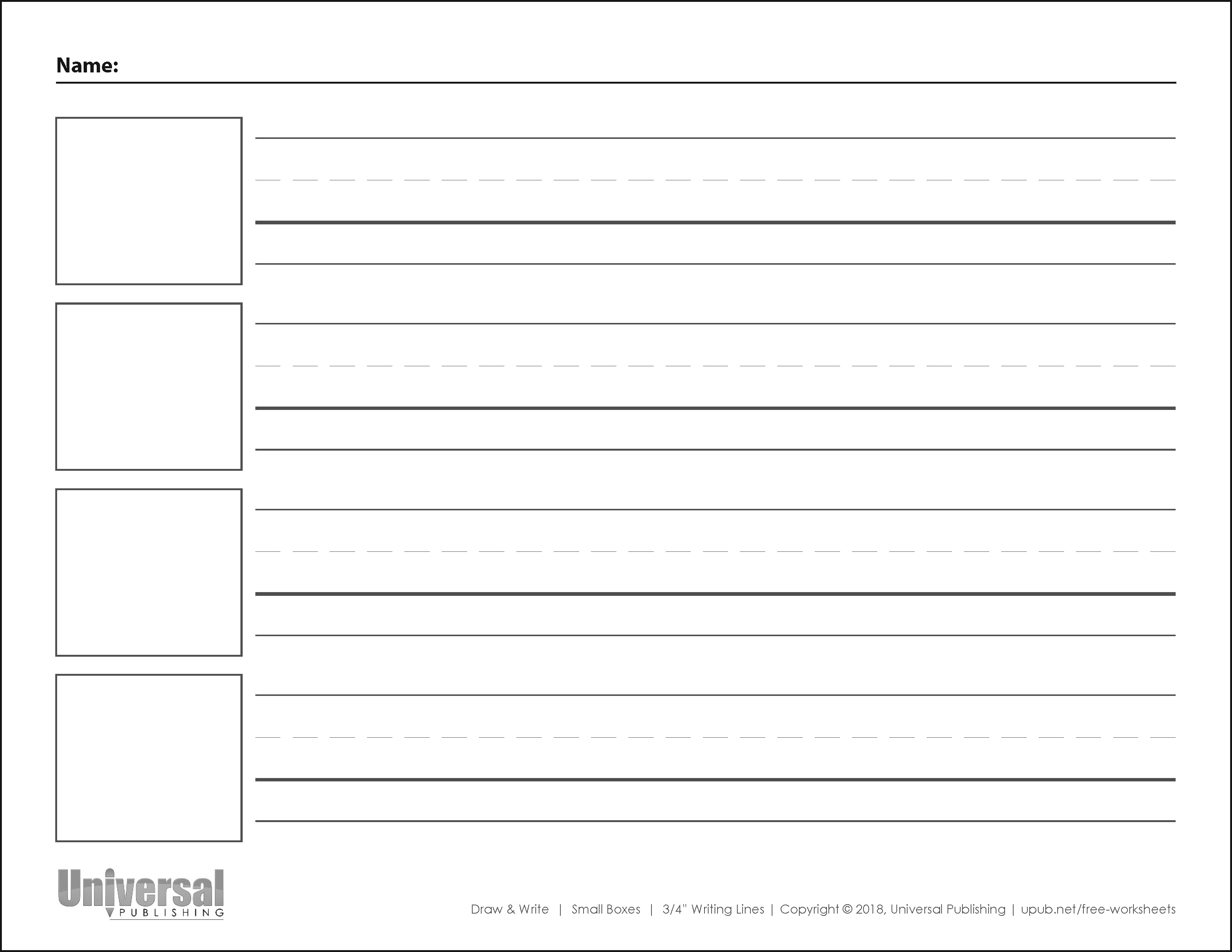 Draw and Write Horizontal Three Quarter Inch Writing Lines Four Boxes