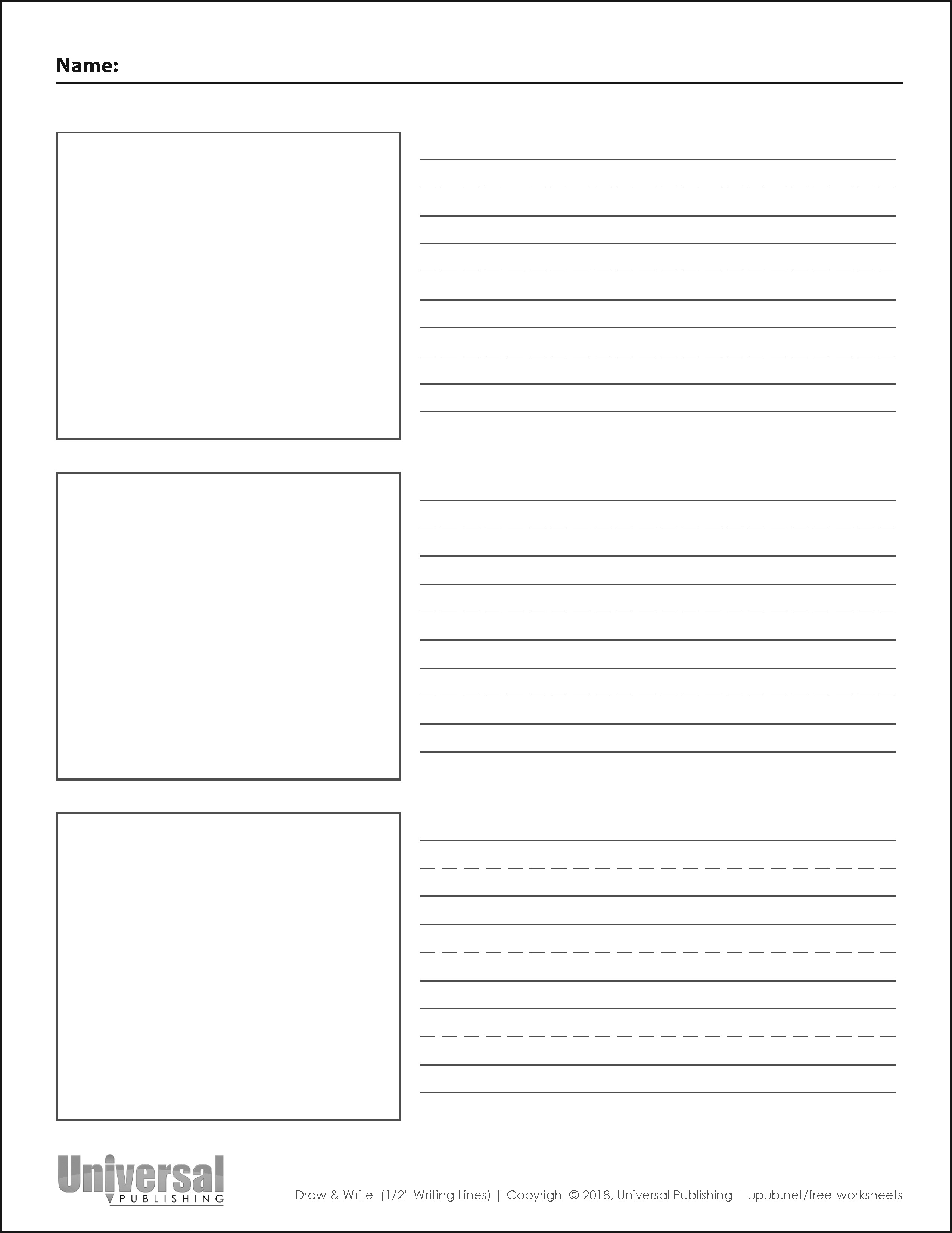 Draw and Write Vertical Half Inch Writing Lines Three Boxes