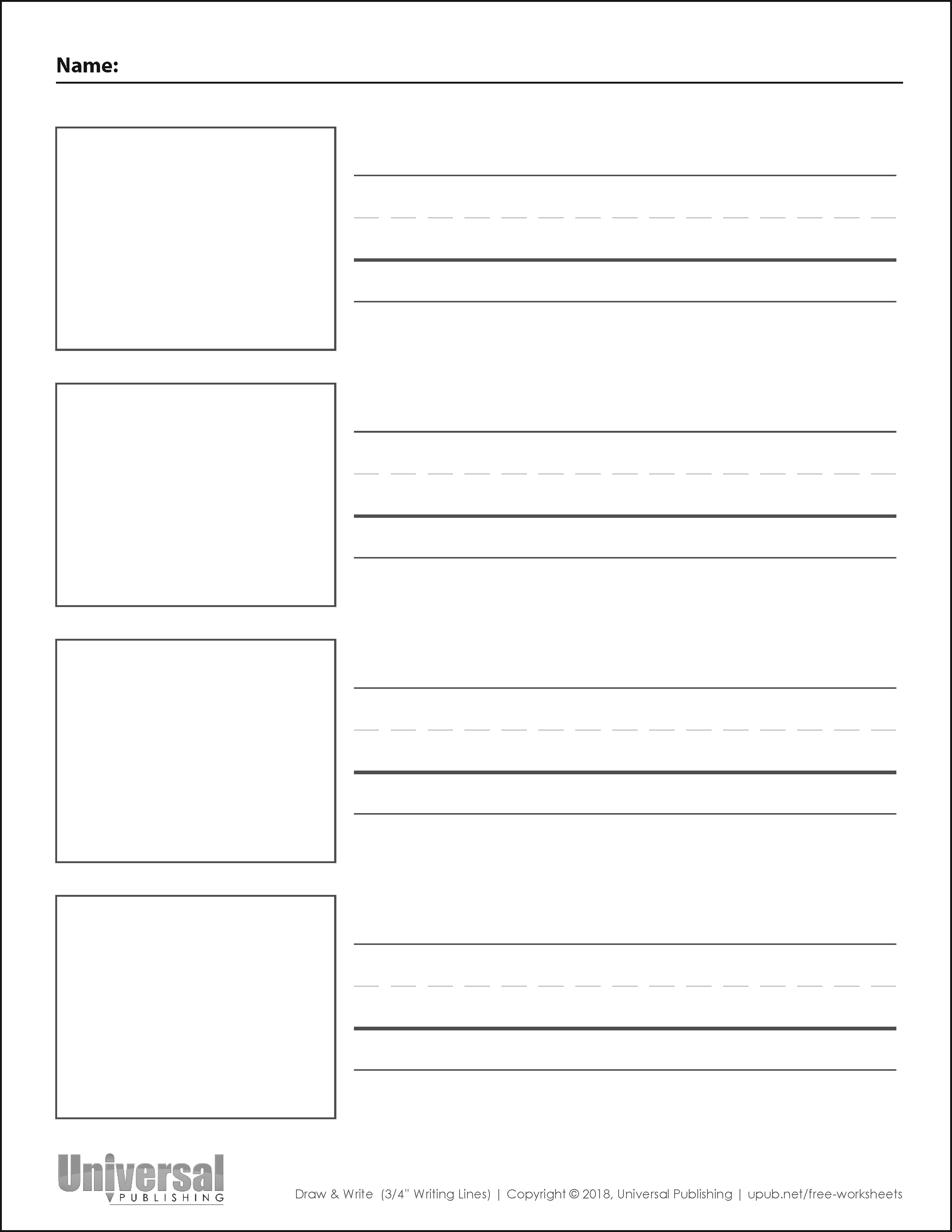 Draw and Write Vertical Three Quarter Inch Writing Lines Four Boxes