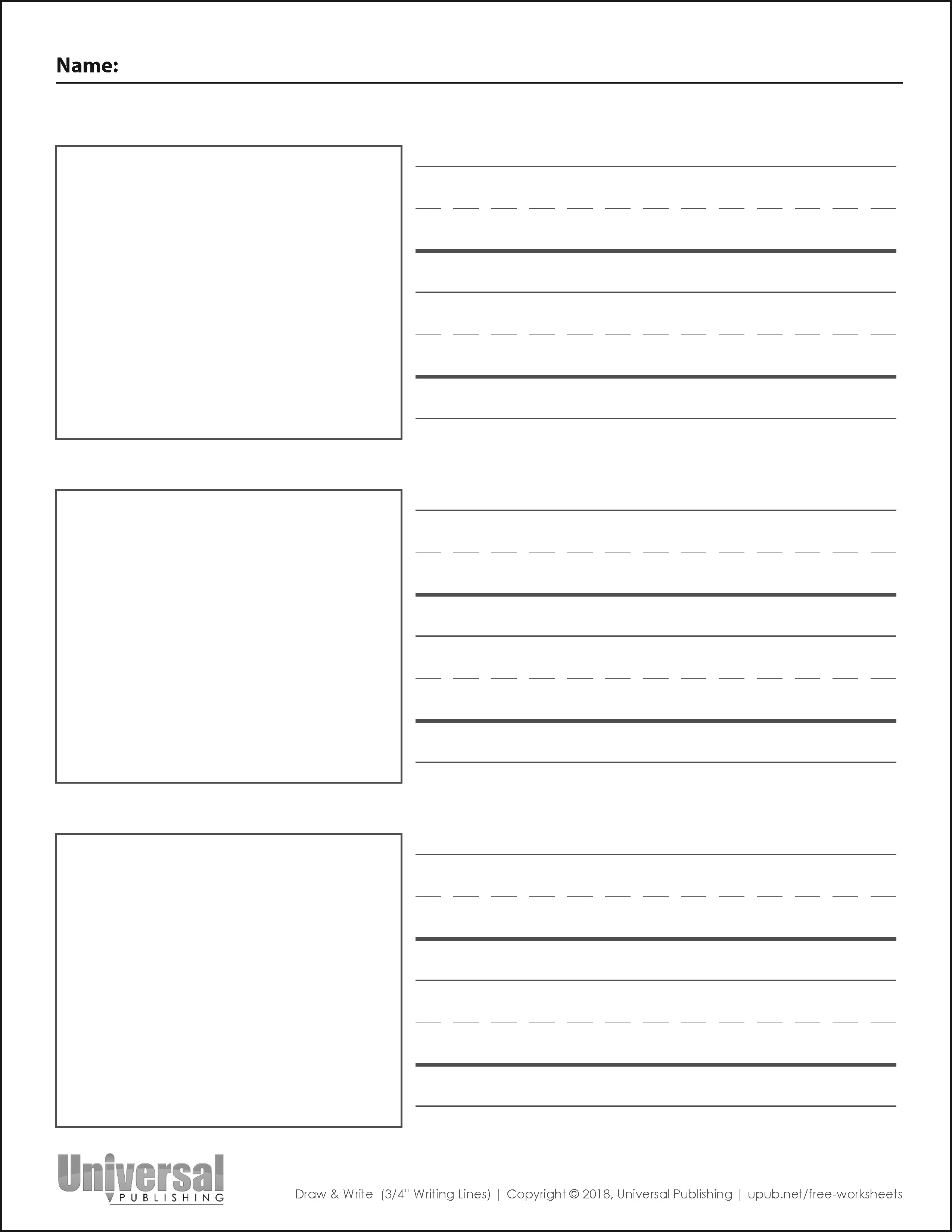 Draw and Write Vertical Three Quarter Inch Writing Lines Three Boxes