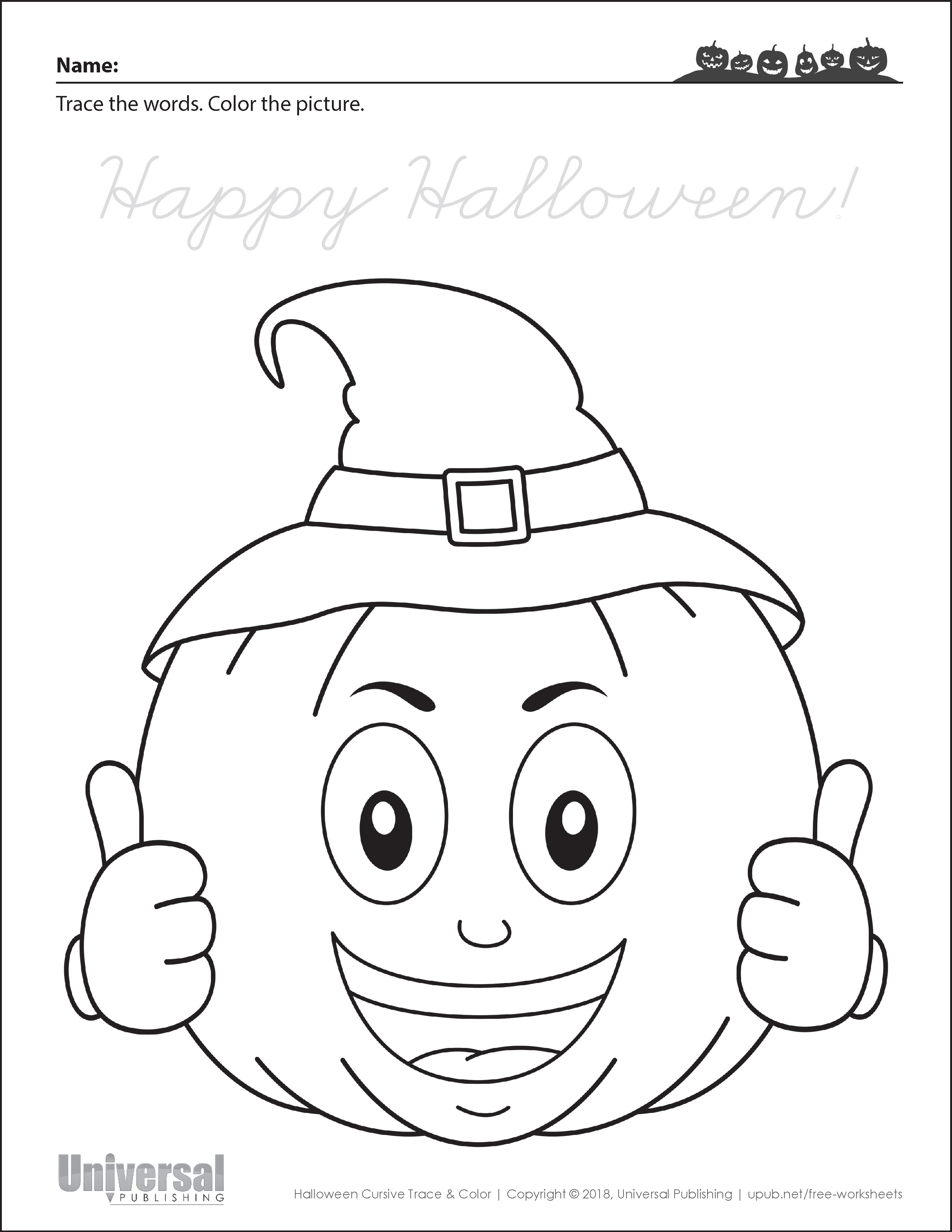 Halloween Activities Cursive Trace and Color