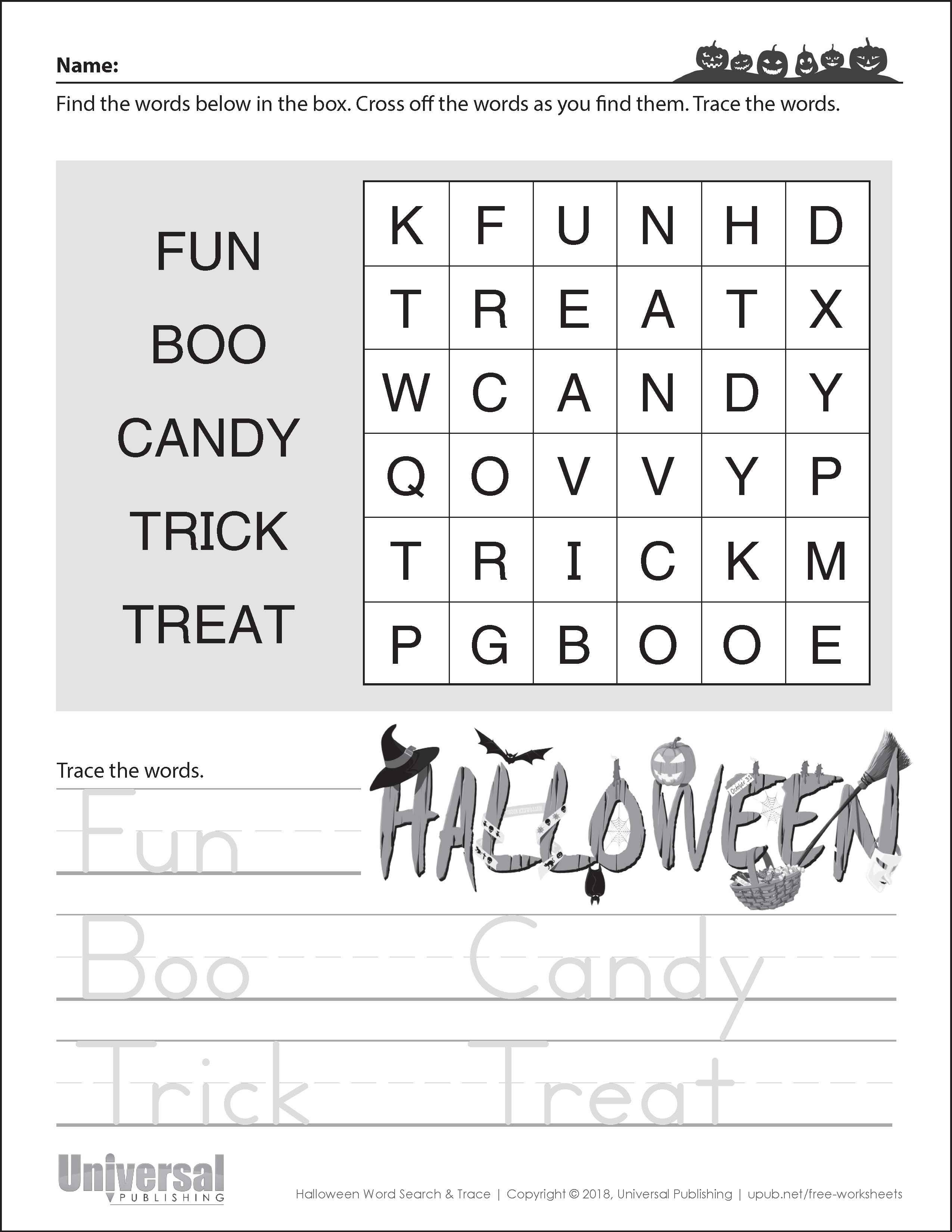 Halloween Activities Word Search and Trace