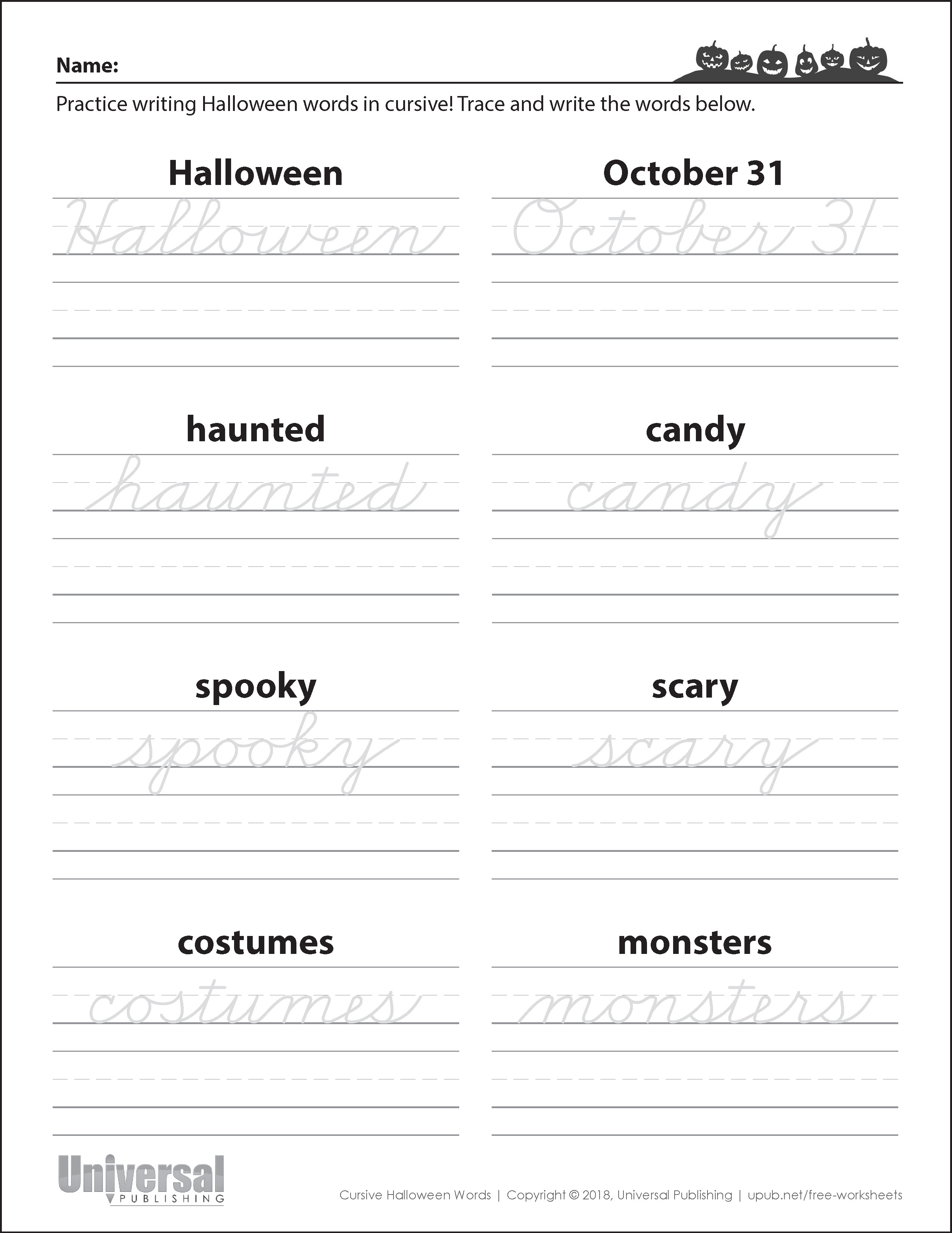Halloween Words Cursive