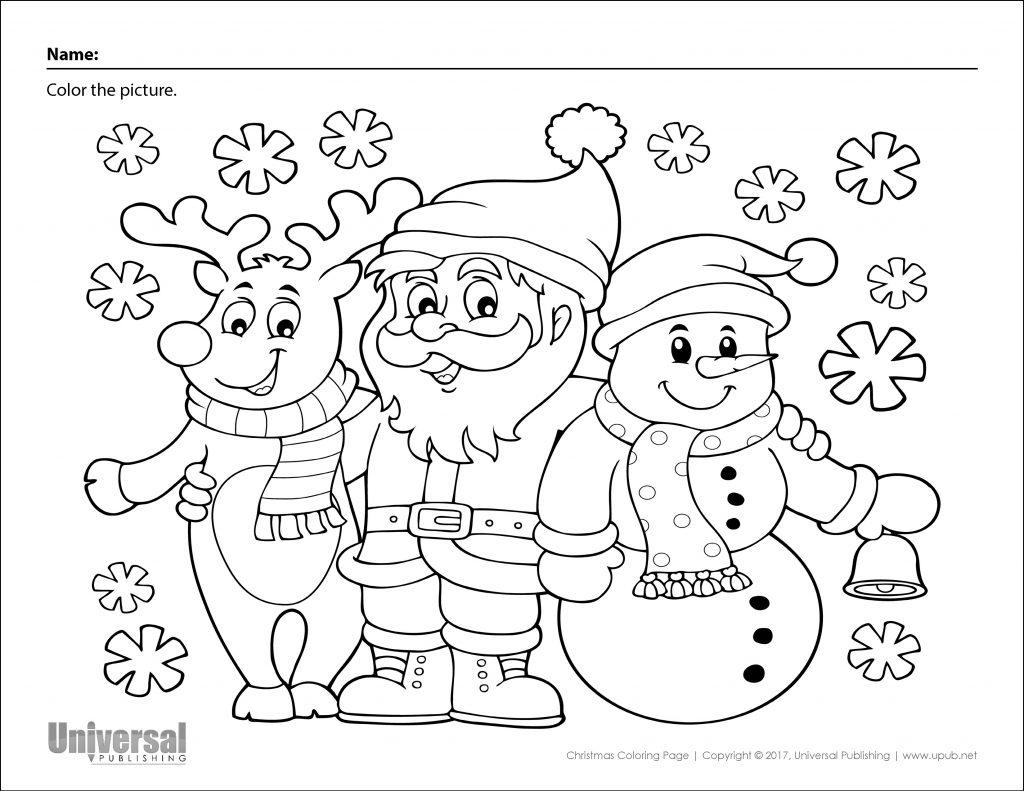 Christmas Coloring Page Santa Reindeer Snowman - Universal ...