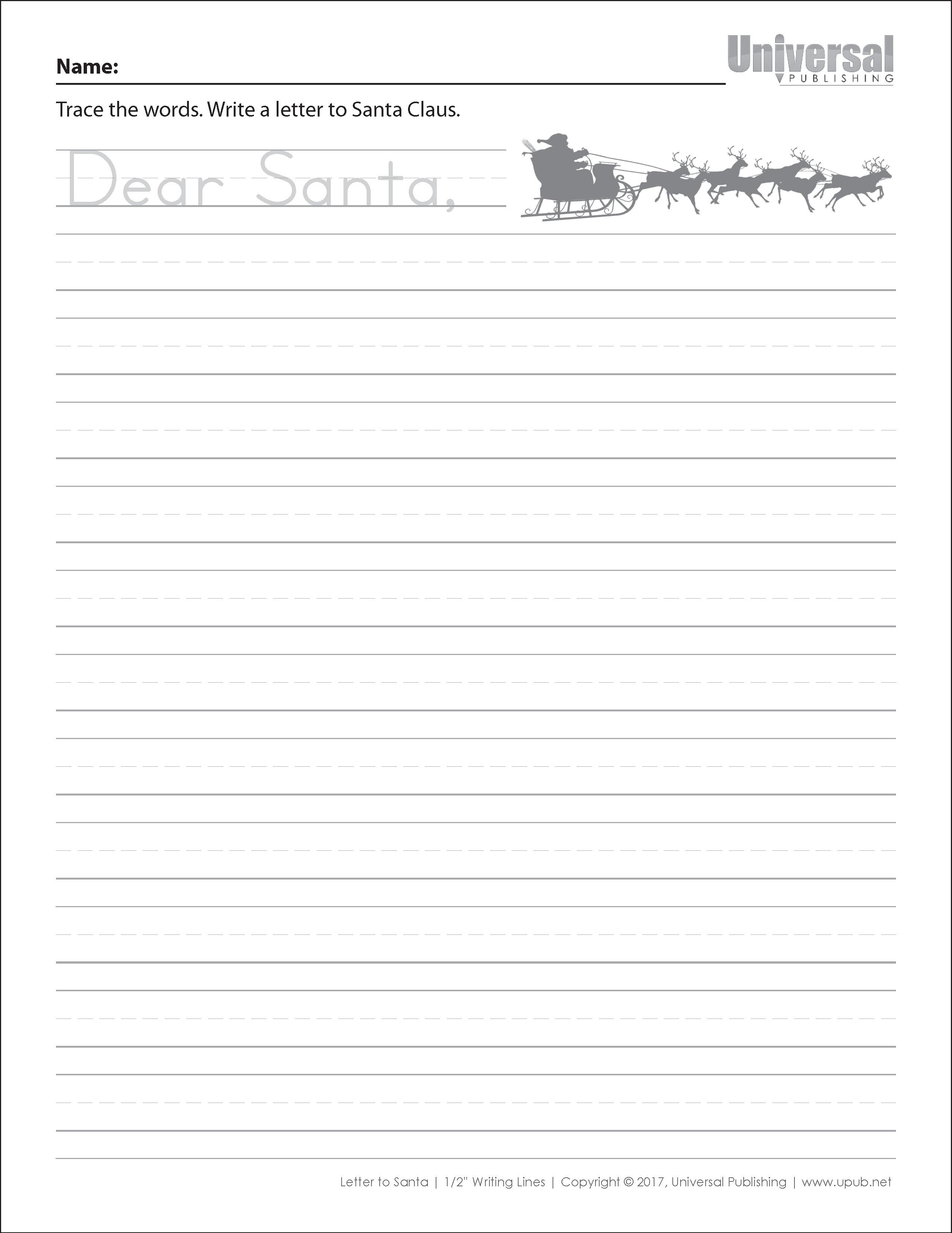 Christmas Dear Santa Half Inch Lines