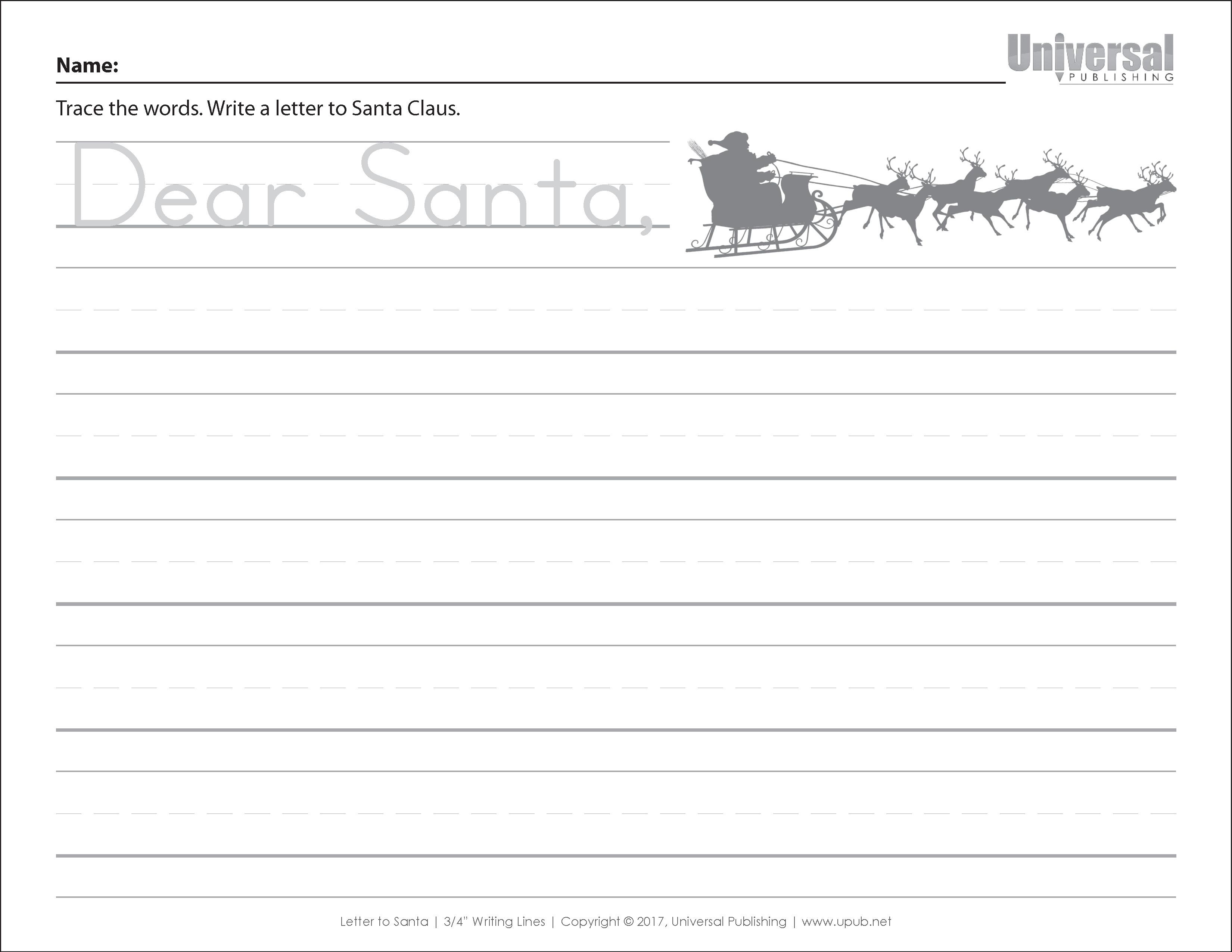 Christmas Dear Santa Three Quarter Inch Lines