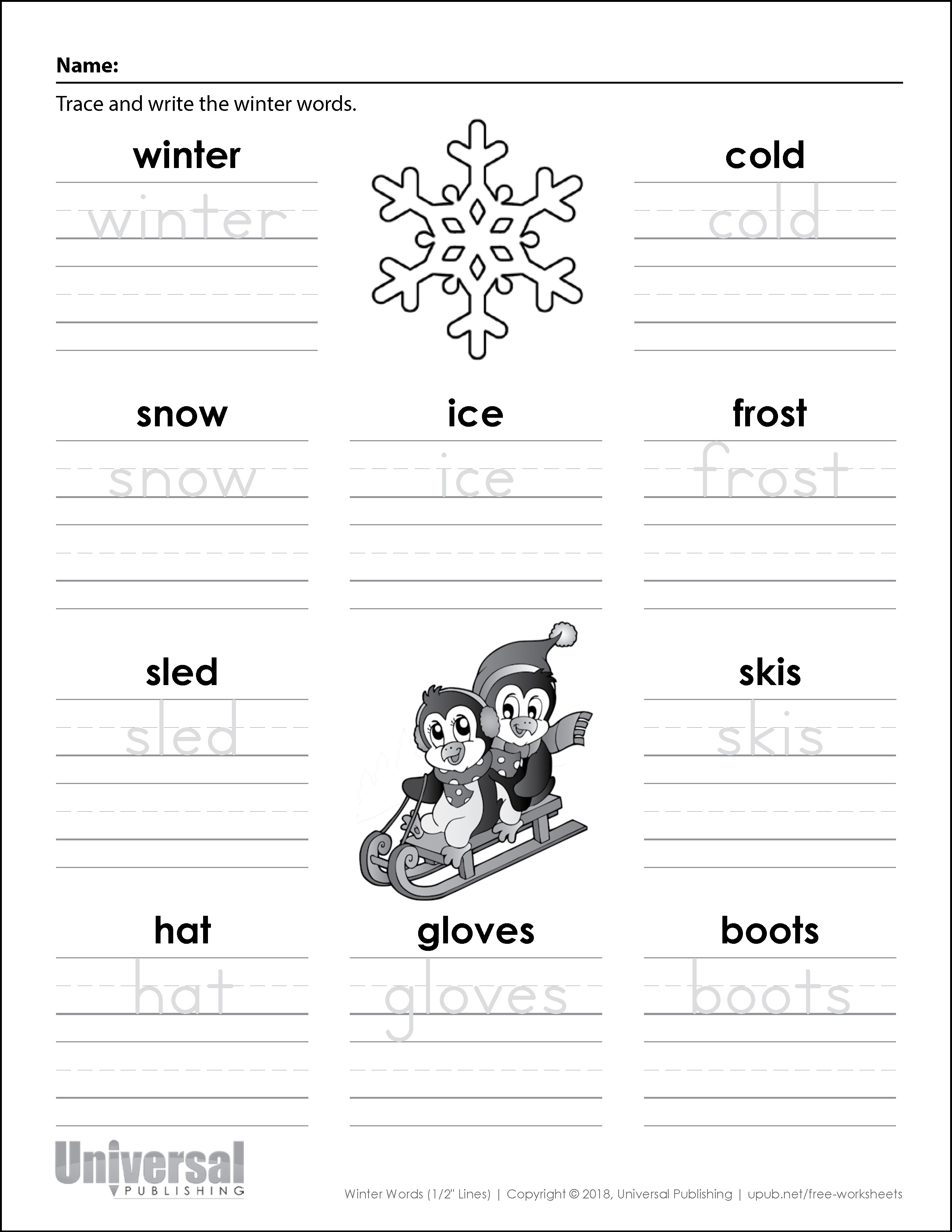 Winter Words Half Inch Lines