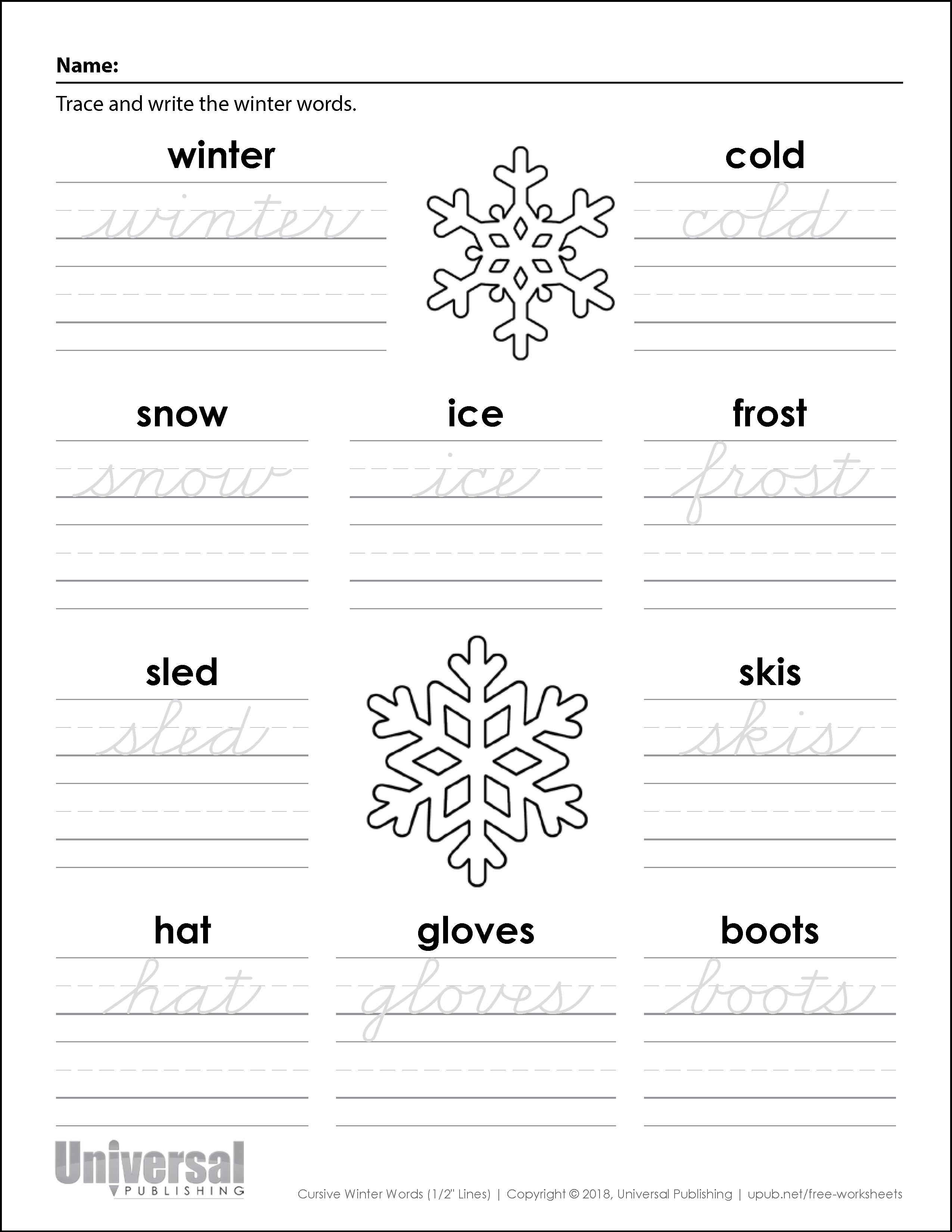 Winter Words Three Quarter Inch Lines Cursive