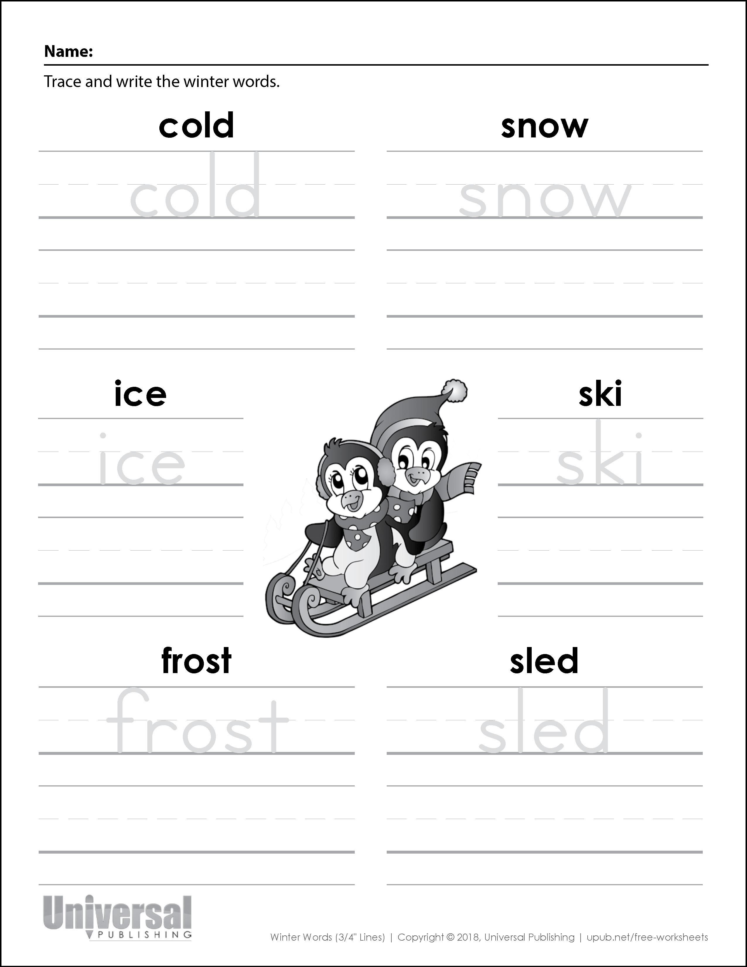 Winter Words Three Quarter Inch Lines