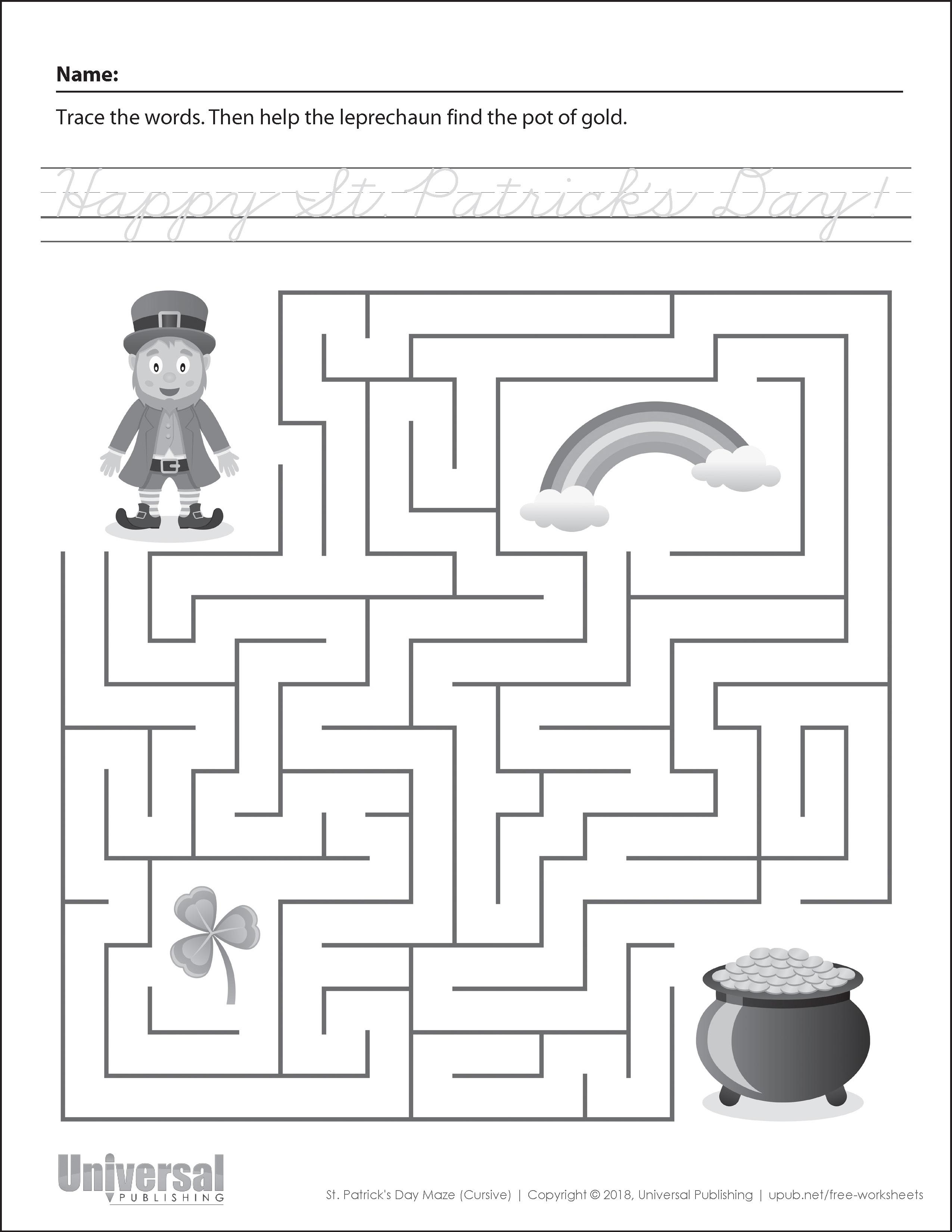 St Patricks Day Maze Cursive