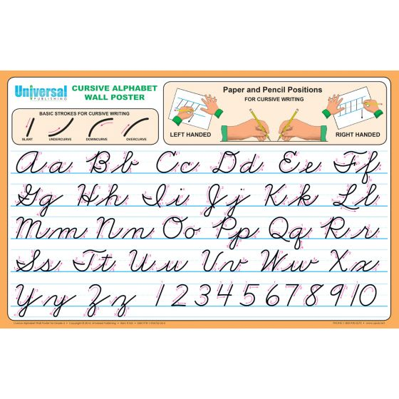 Cursive Alphabet Wall Poster - Buy Alphabet Chart Universal Handwriting
